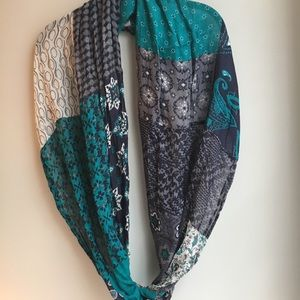 Infinity Scarf w/Teal, Navy, Gray